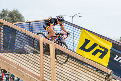 Liesel Lemay (Back Abbey Masters) crosses the fly-over at CXLA in Whittier Narrows Park.