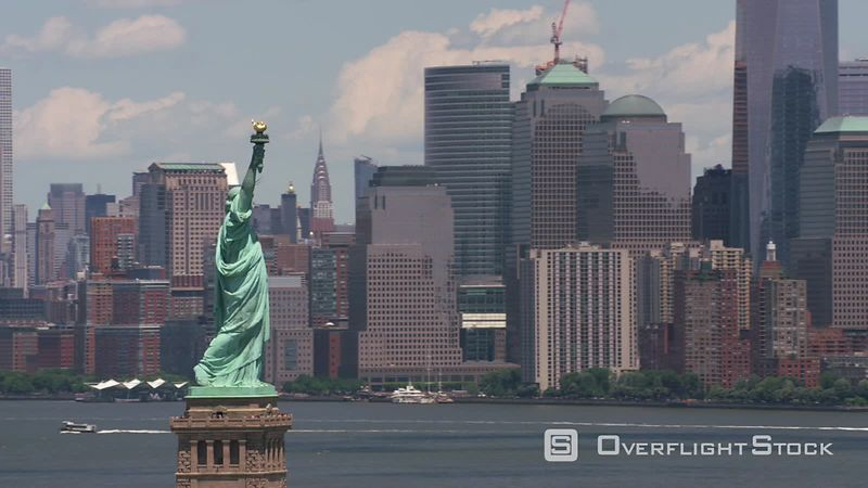 New York City, New York Aerial view of Statue of Liberty and Manhattan.  Shot with Cineflex and RED EpicW Helium.