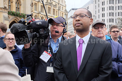 BBC TV  News Journalist Lizo Mzimba waiting outside the Terry Wogan Memorial Service at Westminster Abbey