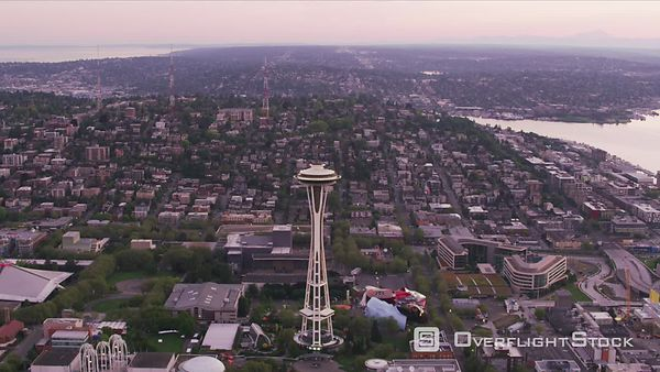 Seattle, Washington Looking directly down on Space Needle.  Shot with Cineflex and RED EpicW Helium.