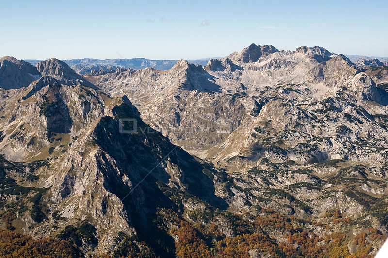 Aerial view of Durmitor Mountains, Durmitor NP, Montenegro, October 2008