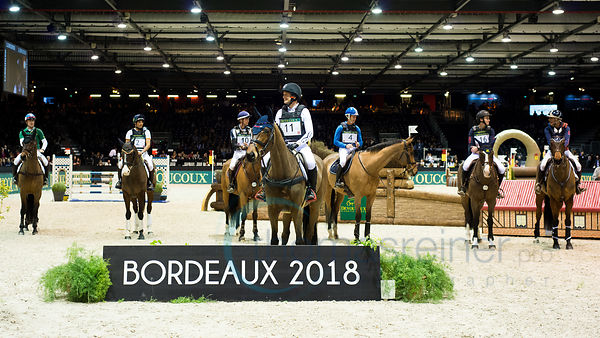 Bordeaux, France, 2.2.2018, Sport, Reitsport, Jumping International de Bordeaux - DEVOUCOUX Indoor Derby. Bild zeigt Prize giving...2/02/18, Bordeaux, France, Sport, Equestrian sport Jumping International de Bordeaux - DEVOUCOUX Indoor Derby. Image shows Prize giving.