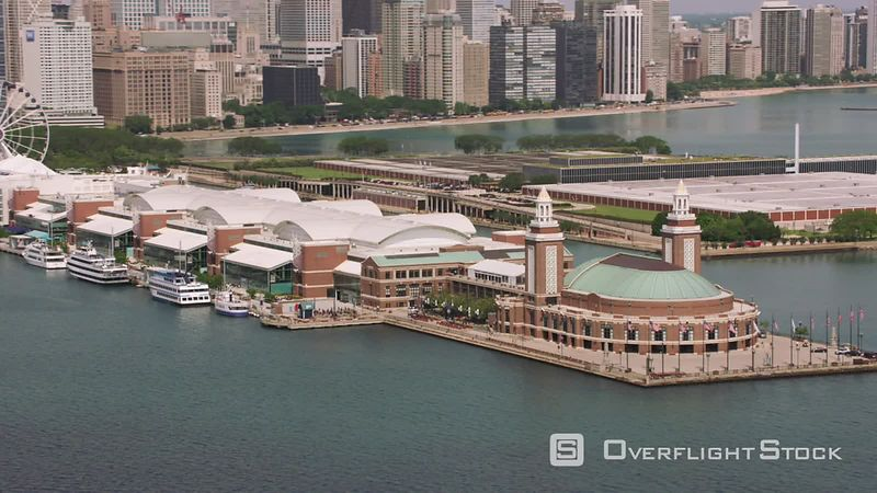 Chicago, Illinois Aerial shot of Navy Pier in downtown Chicago.  Shot with Cineflex and RED EpicW Helium.