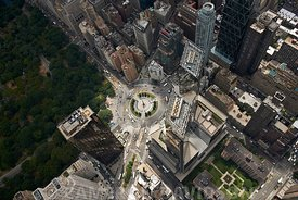 Aerial USA New York City Columbus Circle