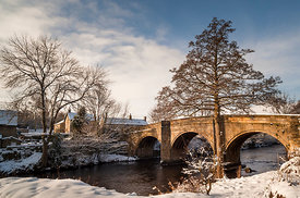 The bridge over the Wye at snowy Baslow