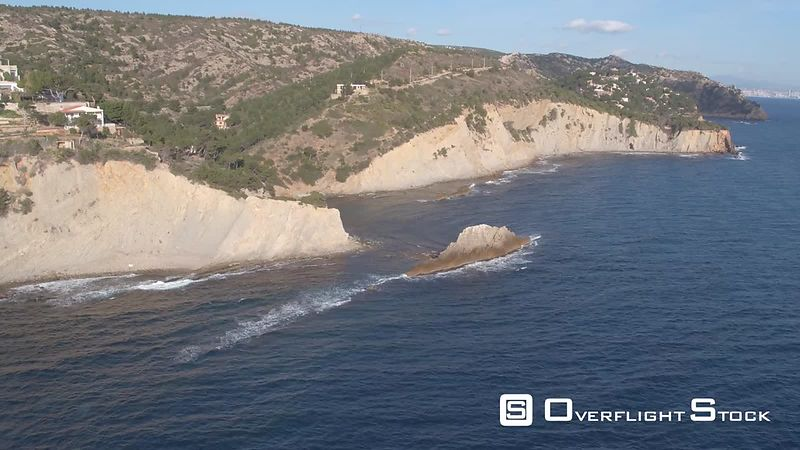 Aerial view of Ensues-la-Redonne port and cliffs, filmed by drone, Ensues-la-Redonne, France