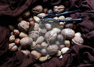 Walnuts, hazelnuts and almonds in shells on a brown cloth.