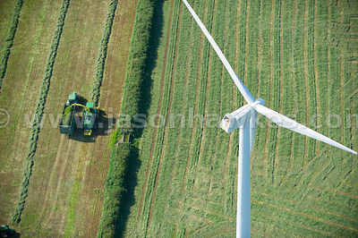 Aerial view of Wind Farm, Wales, United Kingdom