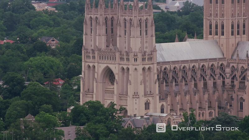 Washington, D.C. Aerial view of the National Cathedral.  Shot with Cineflex and RED EpicW Helium.