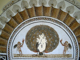 A finely detailed mosaic of a peacock. El Jem, Tunsia; Landscape