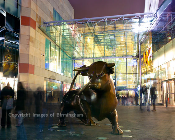 The Bullring Bull.  Bronze statue.
