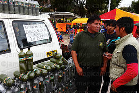 Stall selling Energy Coca fizzy soft drinks at trade fair promoting alternative products made from coca leaves , La Paz , Bolivia