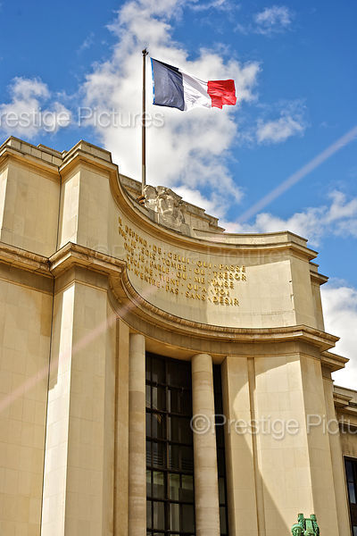 The French National Flag Flies atop of the Palais de Chaillot