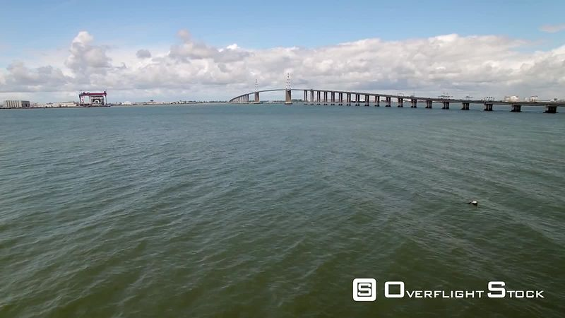 Aerial view of Saint-Nazaire Bridge, filmed by drone, France