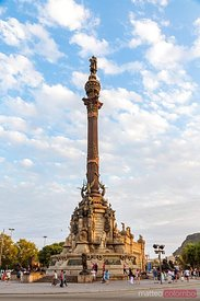 Christopher Columbus monument at sunset, Barcelona, Spain