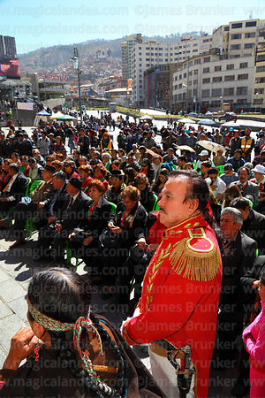 A man dressed as Pedro Domingo Murillo takes part in a ceremony to commemorate the uprising of July 16th 1809, La Paz, Bolivia