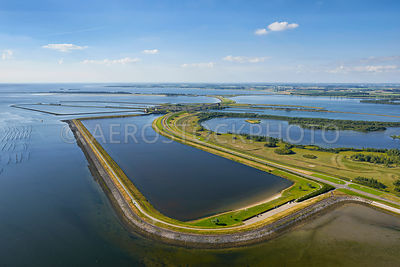 The Laagbekken , one of the water basins of the saltwater and freshwater lock system of the Krammer Locks with in the Philipsdam, Delta Works, South-Holland, Zeeland, the Netherlands