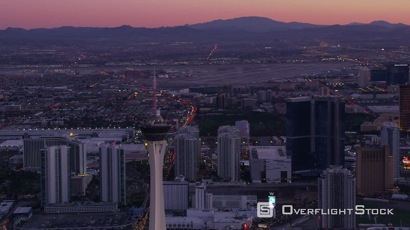 Las Vegas, Nevada Aerial view of Las Vegas Strip at dusk.  Shot with Cineflex and RED EpicW Helium.