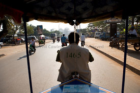Siem Reap, Cambodia - View from the back of a tuk tuk Taxi