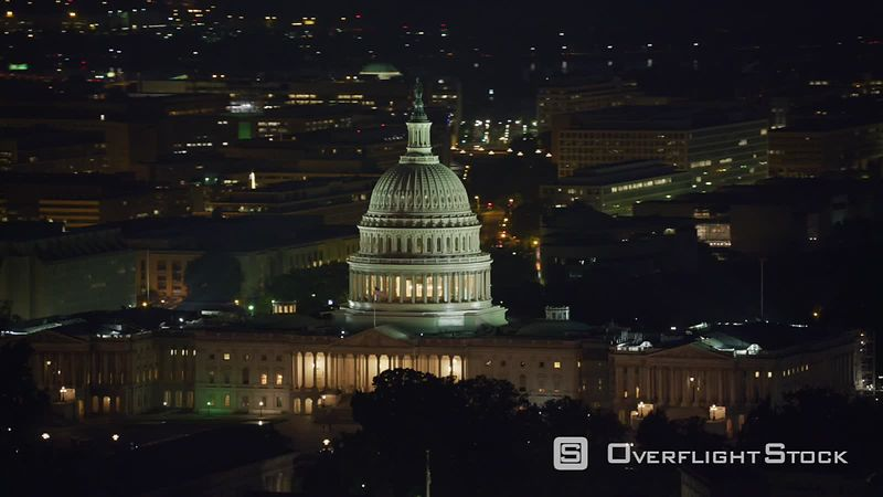 Washington, D.C. Aerial view of the United States Capitol building at night.  Shot with Cineflex and RED EpicW Helium.