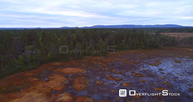 Swamp, Aerial Rising Backward View of a Big Wet Bog, in Lapland Pyhaluosto National Park, on a Cloudy Autumn Day, in Lappi, Finland