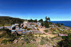 View of Llachon village, Capachica Peninsula, Lake Titicaca, Peru