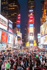 Time square at night crowded, New York city, USA