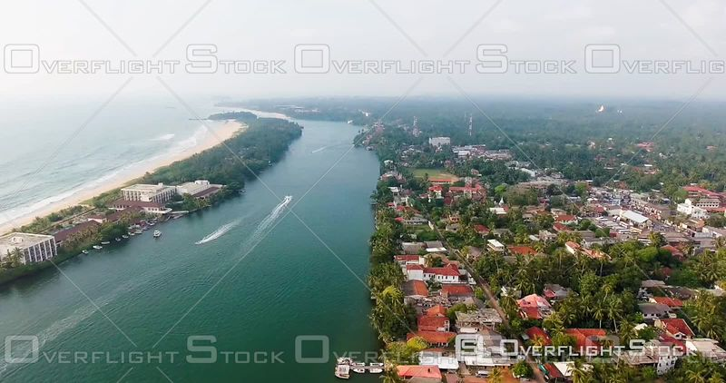 Aerial View of the Coast Nearby Moratuwa, Sri Lanka, Filmed by Drone