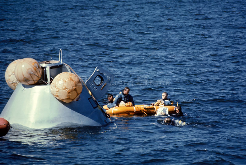 19 Oct. 1968) --- The prime crew of the Apollo 8 mission in life raft awaiting pickup by U.S. Coast Guard helicopter during water egress training in the Gulf of Mexico.