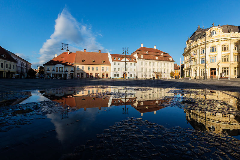 Buildings reflected in the Puddle left by the Fountains on Piata Mare