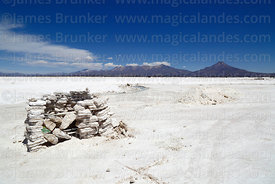 Pile of salt blocks on Salar de Coipasa, Tata Sabaya volcano (R) in background, Oruro Department, Bolivia