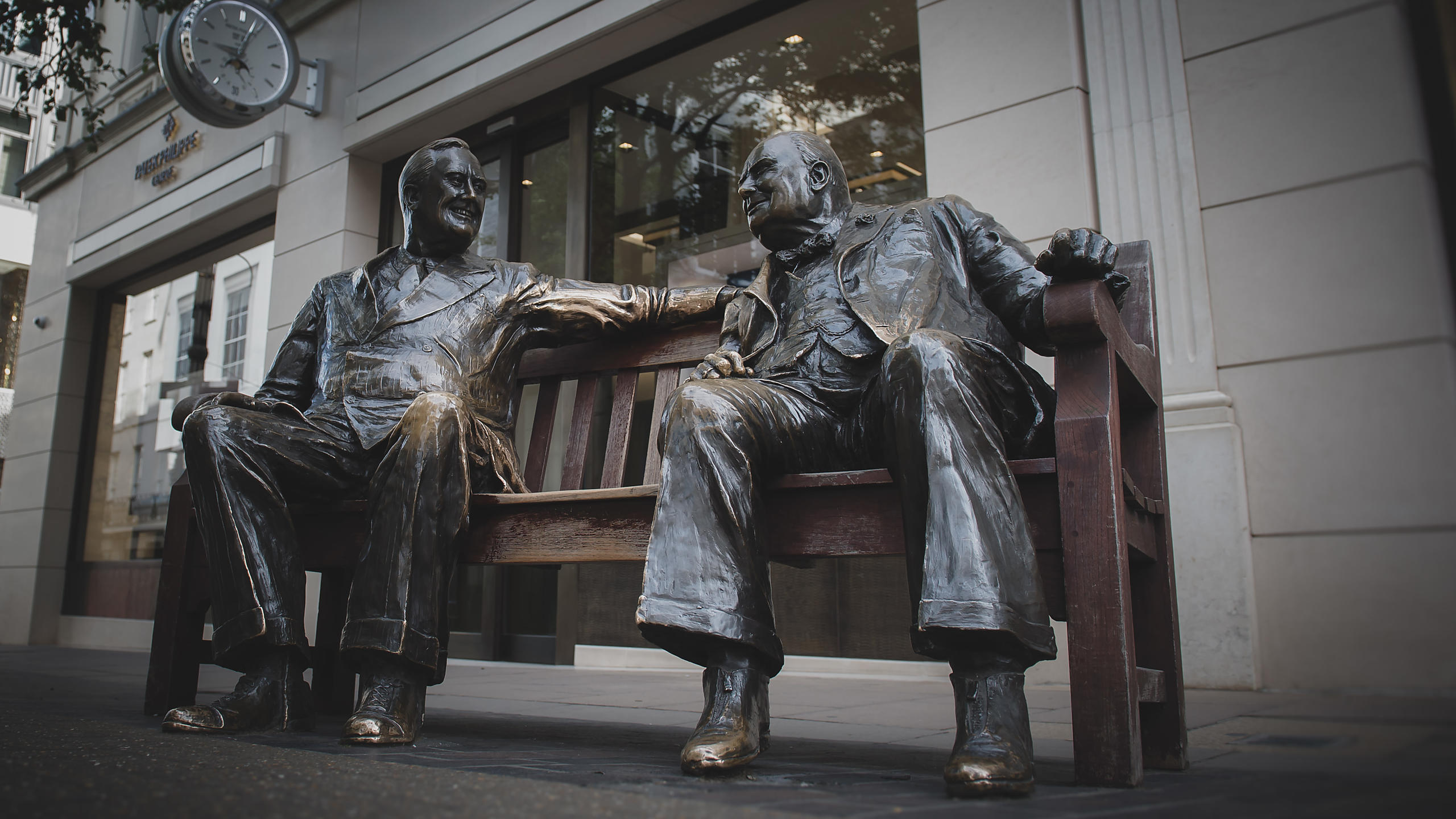 Churchill & FDR Statue in Bond Street; Mayfair