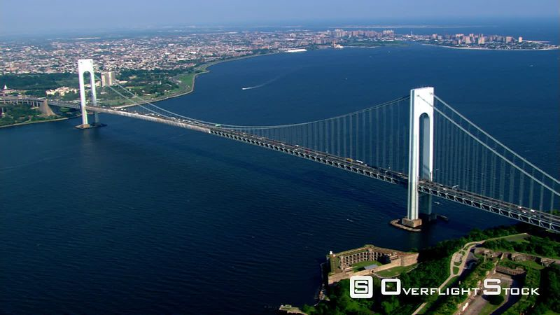 Flying over Verrazano-Narrows Bridge in New York.