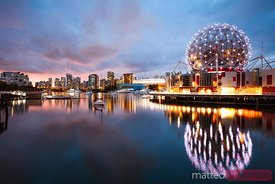 Vancouver skyline at dusk, Canada