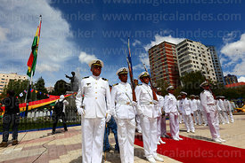 Members of the Bolivian navy standing in front of monument to Eduardo Abaroa during Dia del Mar / Day of the Sea, Plaza Avaroa, La Paz, Bolivia