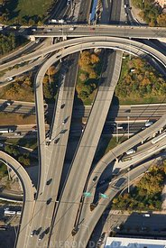 Aerial photograph of the Jane Byrne Interchange in Chicago, Illinois
