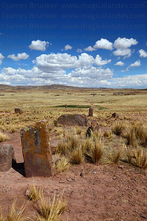 Monolithic stones at Konko Wankani site near Jesús de Machaca, La Paz Department, Bolivia