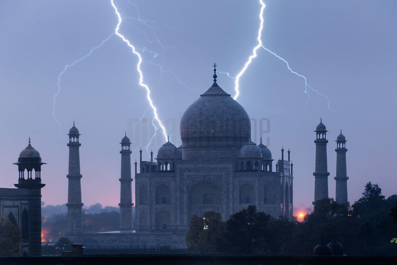 Lightning Strikes Behind the Taj Mahal