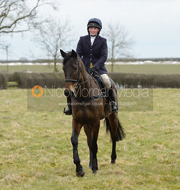 Sophie Walker at the meet - The Cottesmore Hunt at Grange Farm