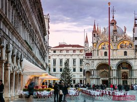 St Marks square at sunset, with Christmas tree, Venice