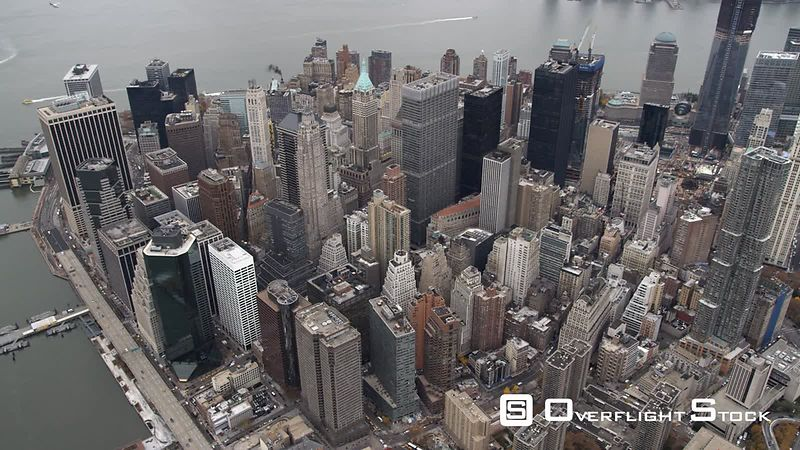 Flying above the Financial District toward the tip of Lower Manhattan.