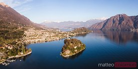 Aerial panoramic view of island on lake Como, Italy