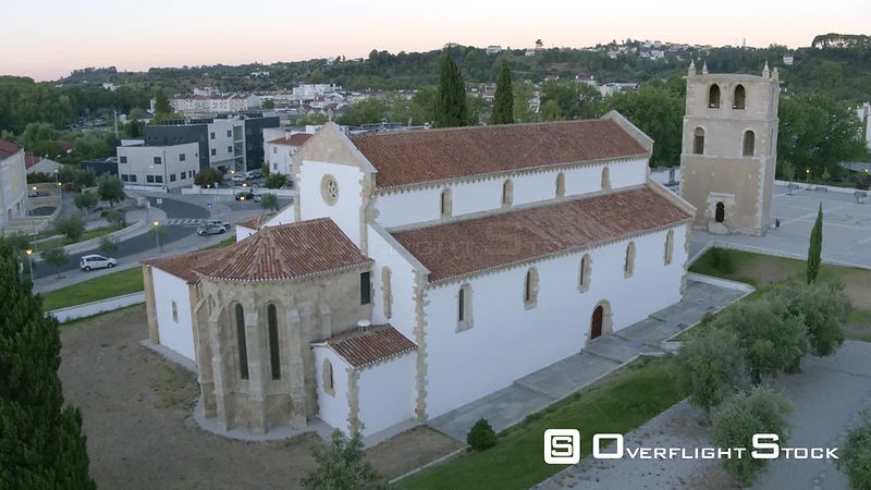 Church of Santa Maria do Olival. Built in 12th Century Knights Templar.  Drone Video Portugal