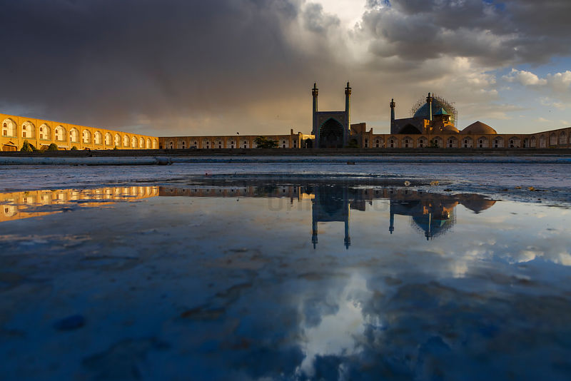 Reflection of the Imam Mosque at Emam Khomeini Square