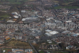 Bury high level aerial photograph with the famous Bury Market in the foreground and the Town centre and the new shopping centre in the background