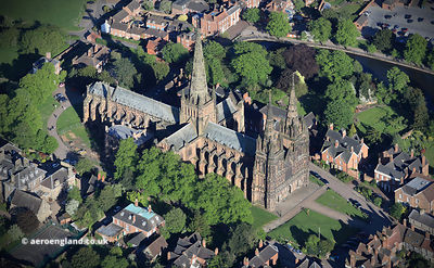 Lichfield Cathedral Staffordshire  aerial photograph