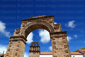 Entrance archway and belfry of Nuestra Señora de la Asunción church, Juli, Puno Region, Peru