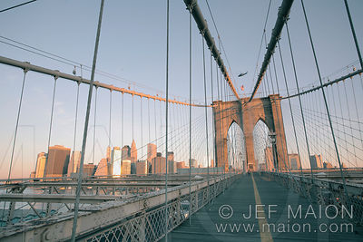 Brooklyn Bridge and Manhattan at sunrise