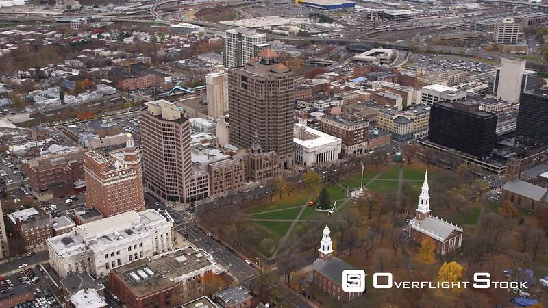 Aerial View of Church on the Green, New Haven, CT.