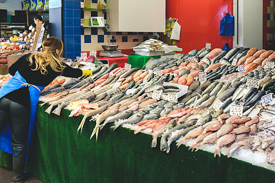 A fishmonger's stall ready for business.